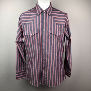 Vintage Levi's Western Shirt Pearl Snap Stripe M